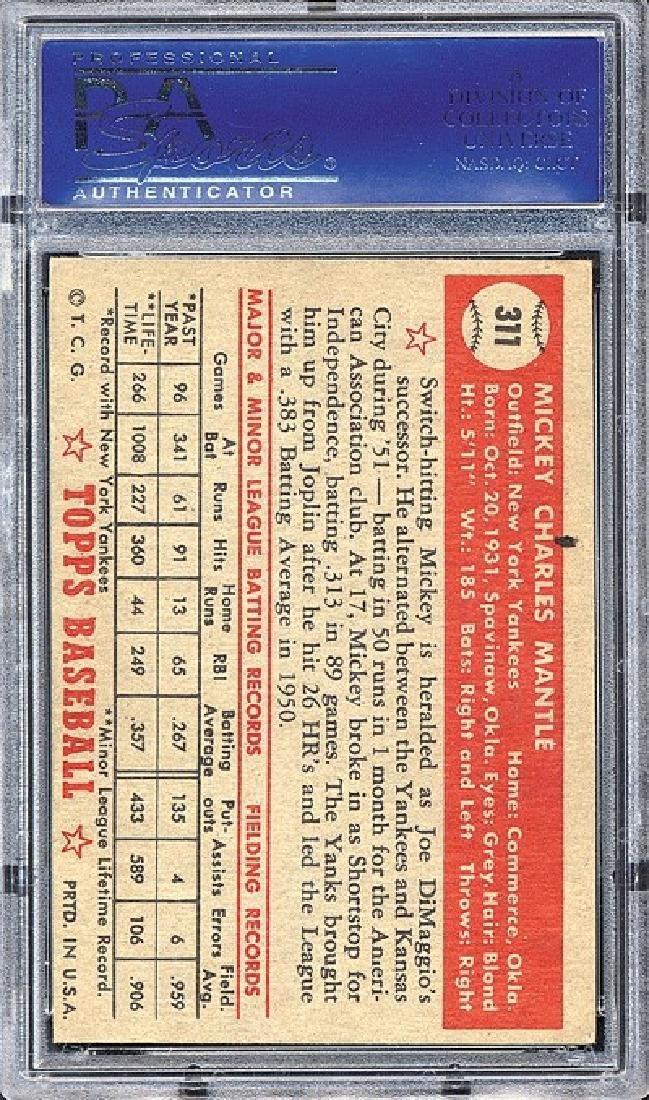 PSA 4 1952 Topps #311 Mickey Mantle - 2