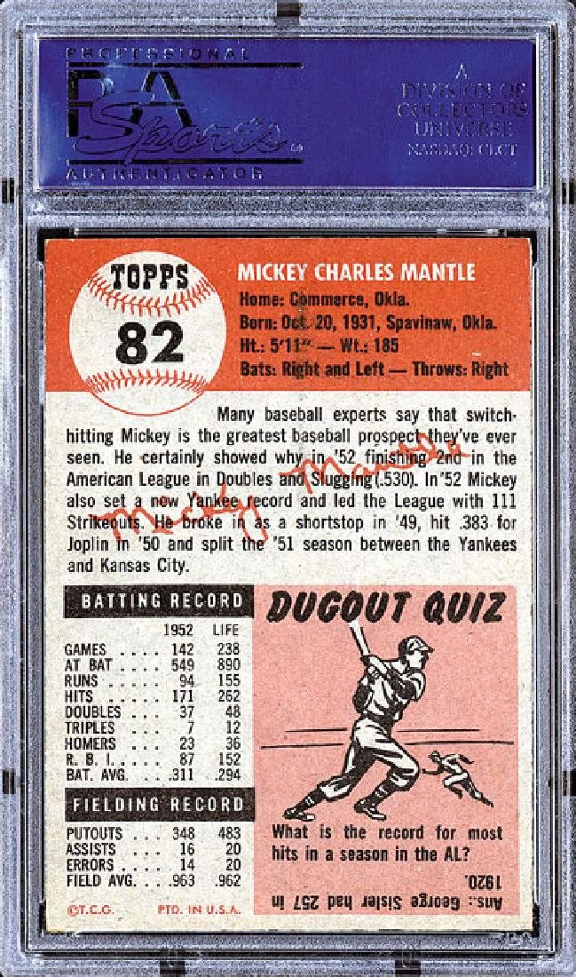 PSA 7 1953 Topps #82 Mickey Mantle - 2