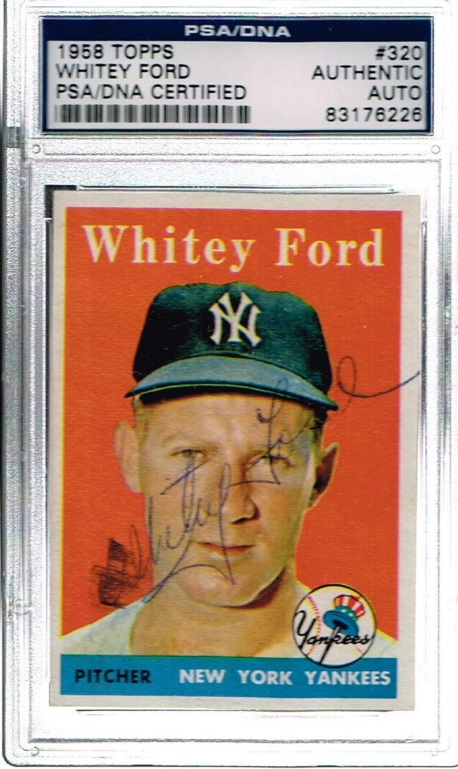 1958 Topps Signed Whitey Ford Number 320 Card Certified