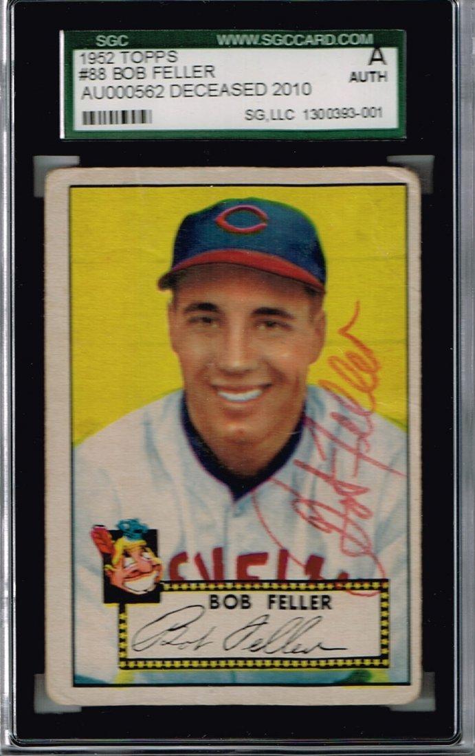Signed 1952 Topps Bob Feller #88 Card Certified by SGC