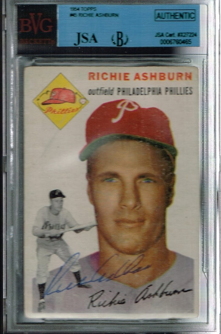 Signed 1954 Topps Richie Ashburn #45 Card Certified by