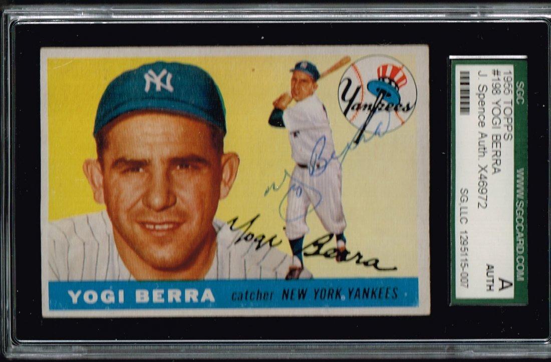 1955 Topps Yogi Berra #198 Signed Baseball Card