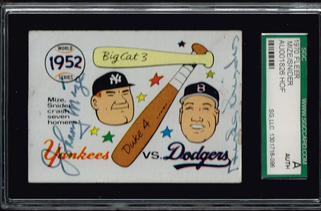 1970 Fleer Johnny Mize and Duke Snider Signed Card