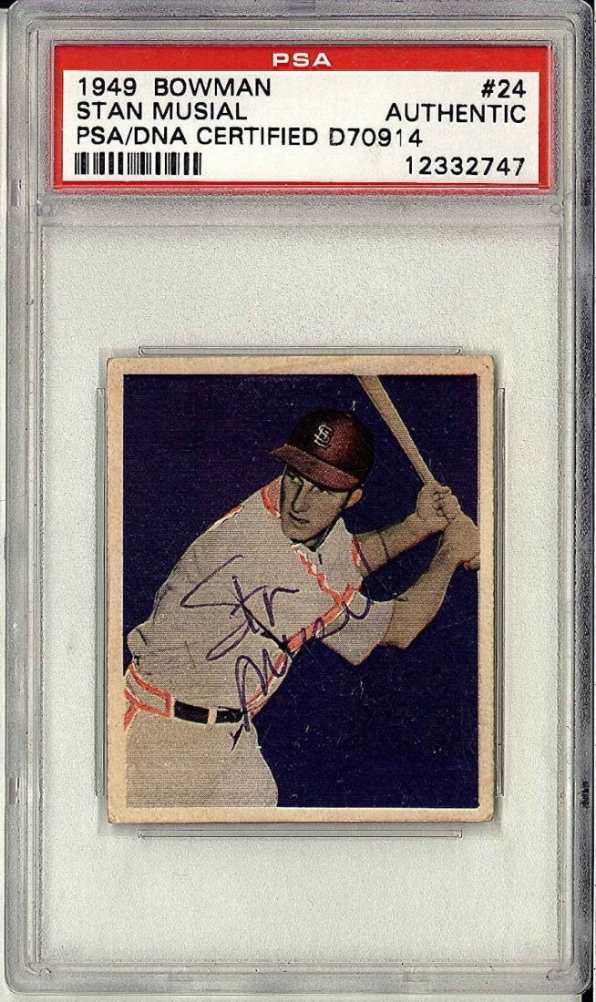 1949 Bowman #24 Stan Musial Signed by Musial Certified