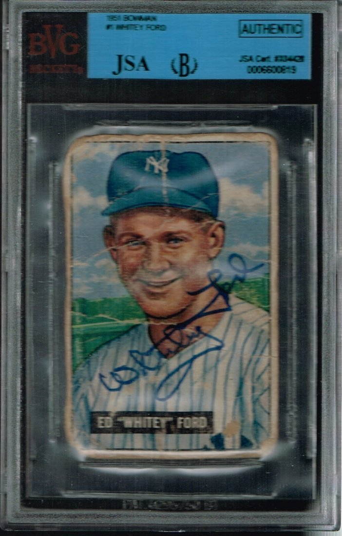 Signed 1951 Bowman #1 Whitey Ford Card Certified by JSA