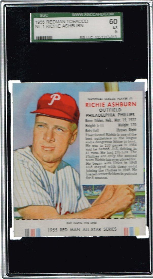 SGC 5 1955 Richie Ashburn Redman Tobacco Card NL-1