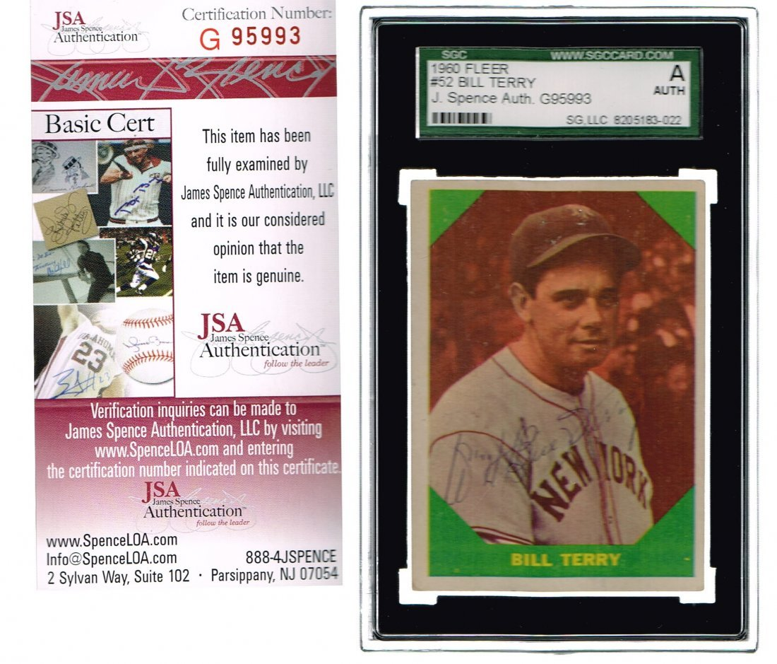 1960 Fleer #52 Bill Terry Card JSA Authenticated and