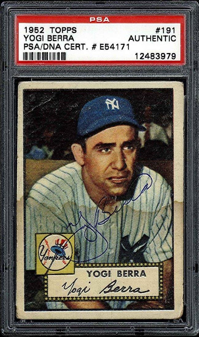 PSA/DNA Signed 1952 Topps Yogi Berra Card #191