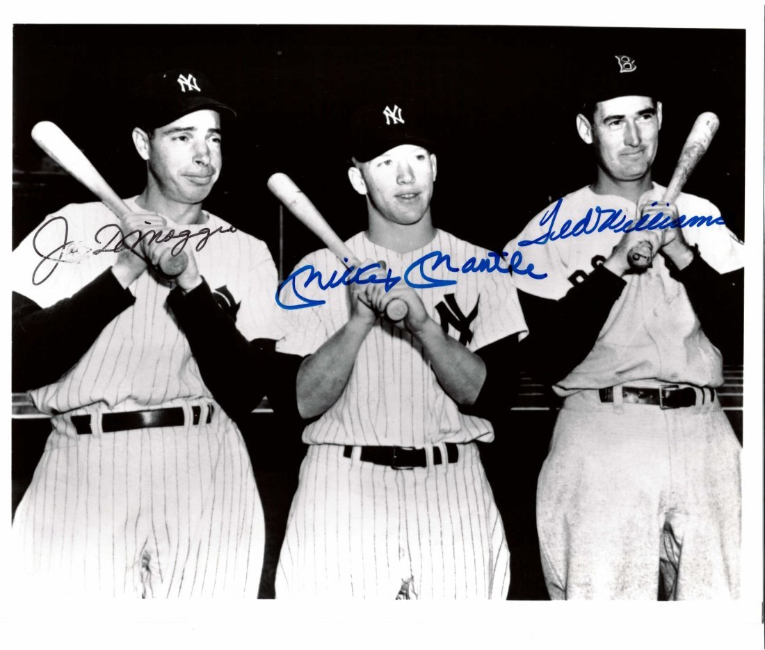 Joe DiMaggio, Ted Williams and Mickey Mantle Signed 8 x