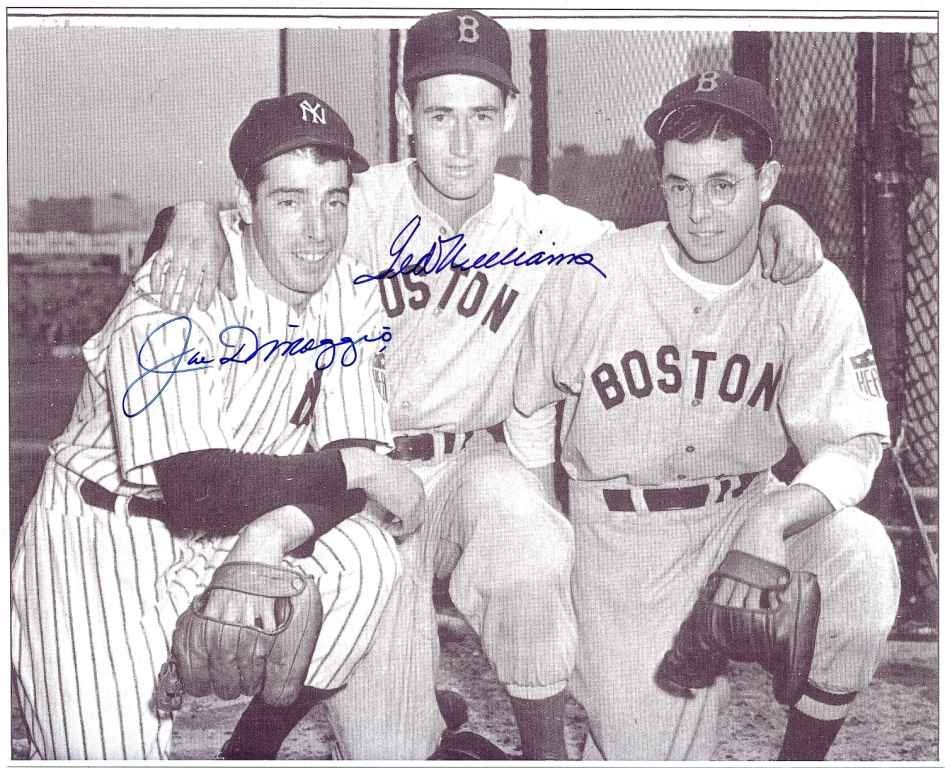 Joe DiMaggio and Ted Williams Signed 8 x 10 Photograph