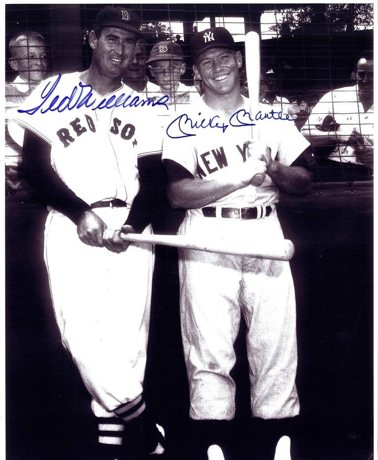 8 x 10 Ted Williams and Mickey Mantle Signed Photograph