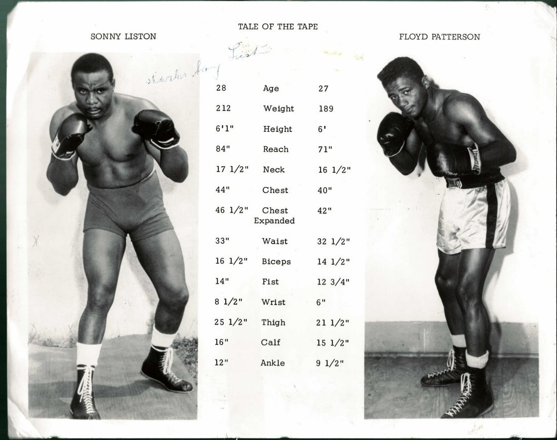Sonny Liston Signed Tale of the Tape Vs. Floyd