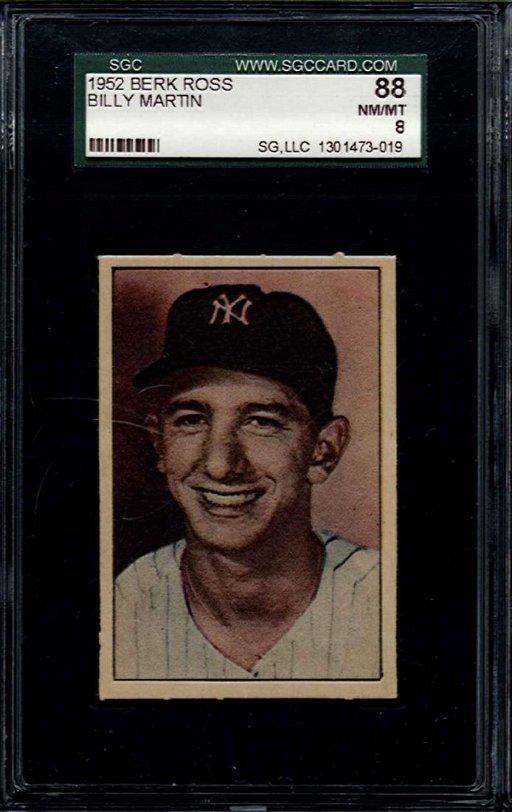 1952 Berk Ross Billy Martin 38 Baseball Card Sgc 88 Or
