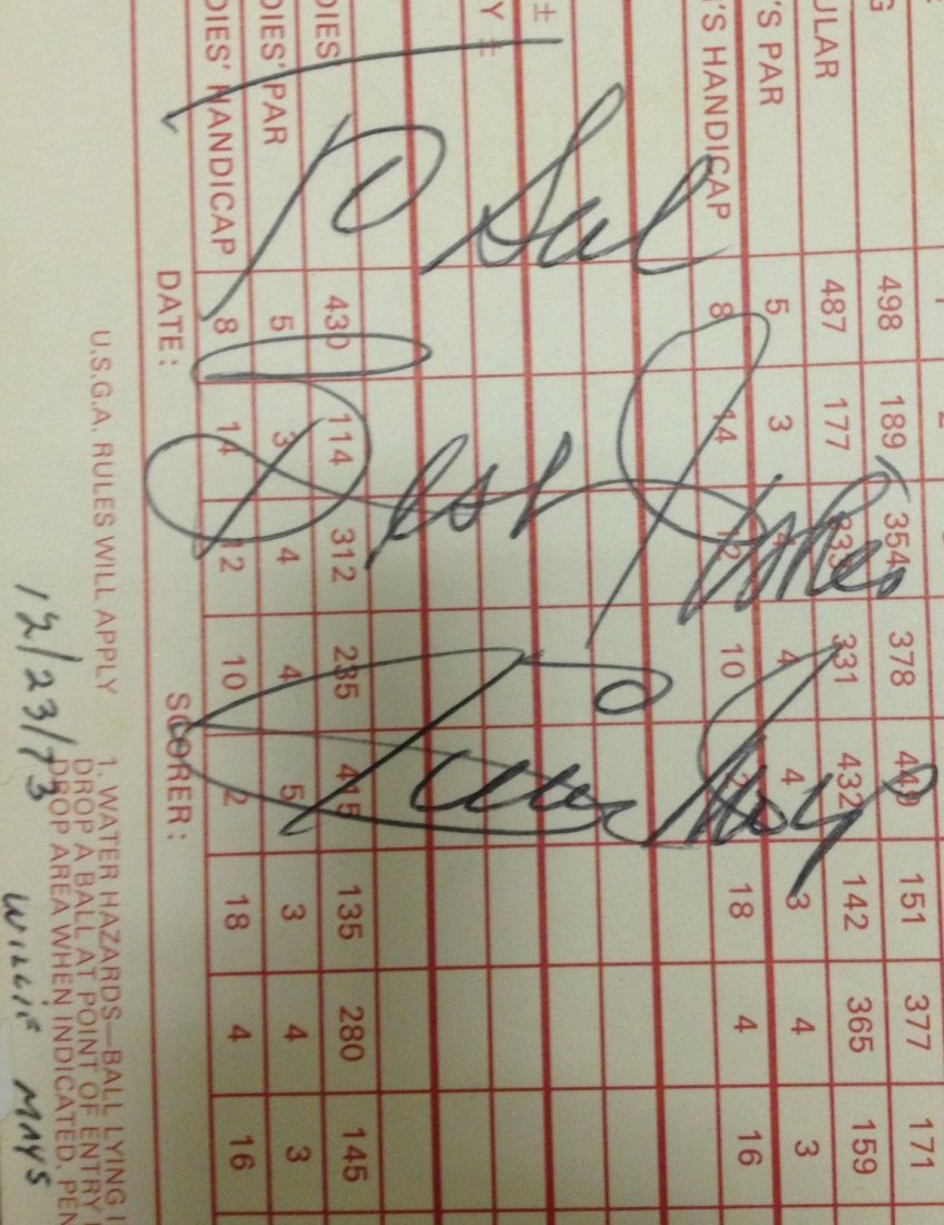 1973 Willie Mays Signed Golf Score Card JSA Certified
