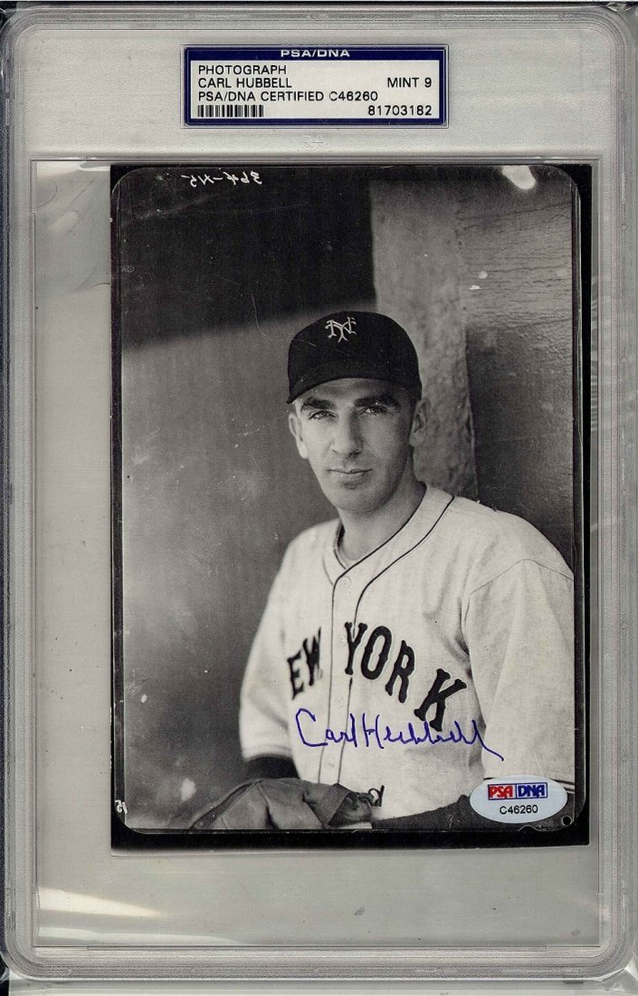 Carl Hubbell Signed Grade 9 Certified by PSA/DNA