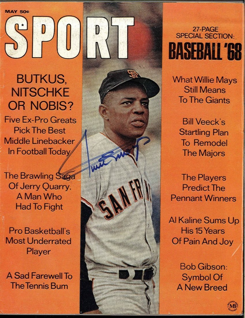 Willie Mays Signed '68 Baseball Magazine Certified by