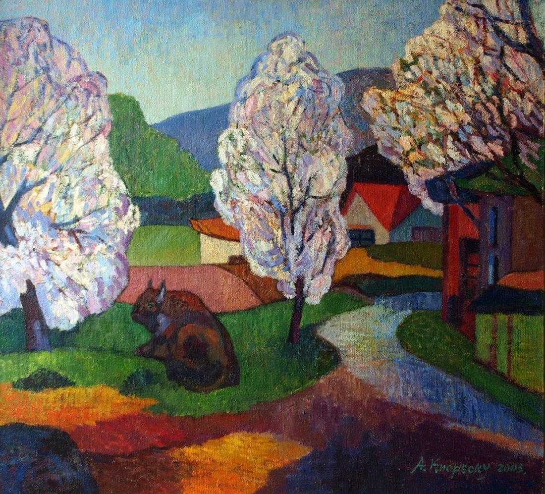 Andrei Kioresku,Spring Landscape with the Bull