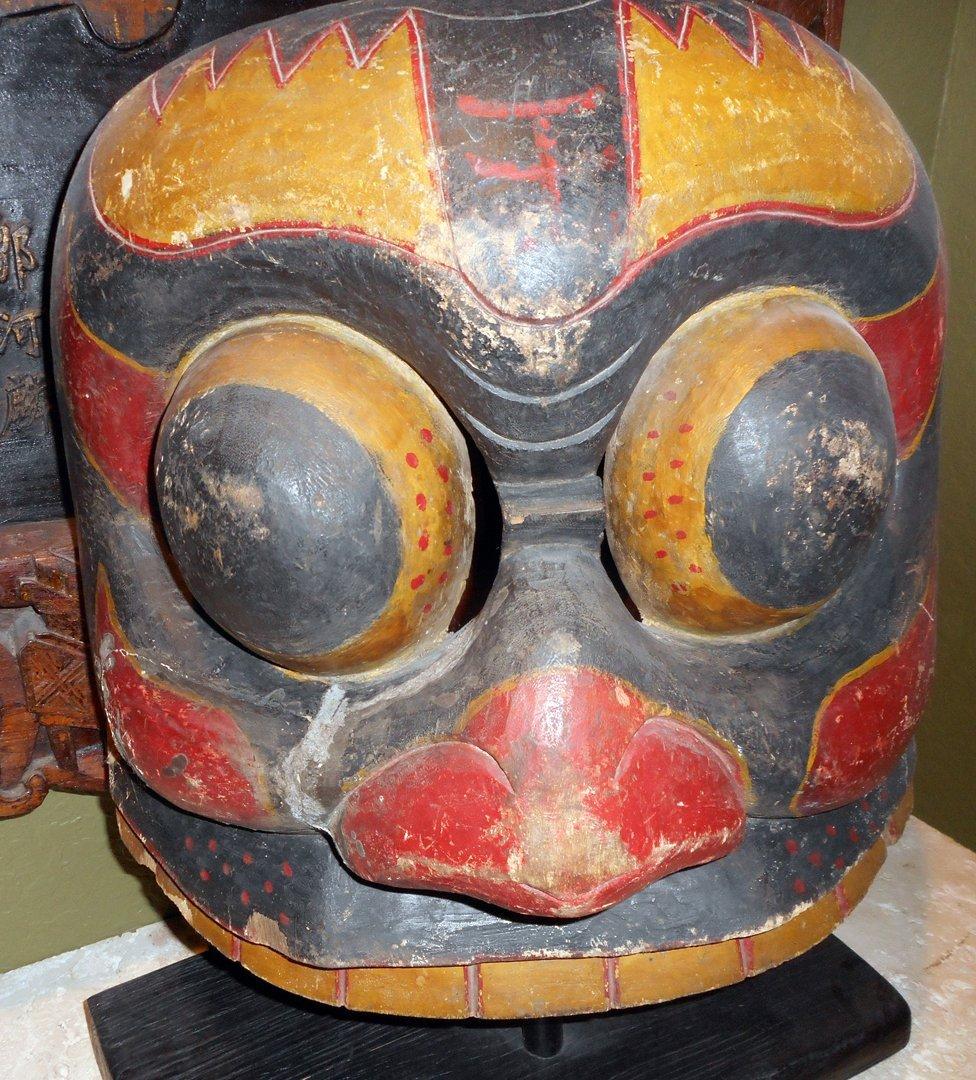 Large Unusual Early 19th C. Tibetan Mask
