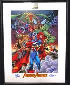 Avengers Assemble Signed Lithograph Marvel Comics