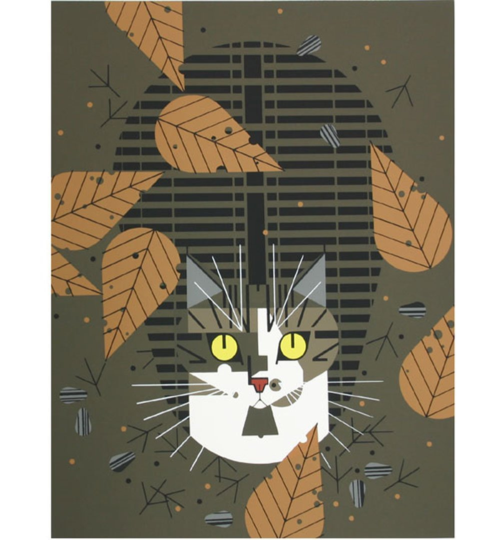 "Charley Harper serigraph ""Birdwatcher"" Frame House"