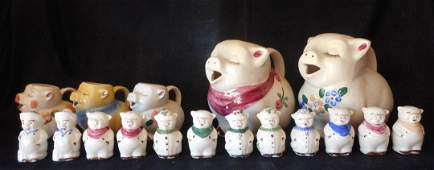 17 pieces of Shawnee Pottery Pigs