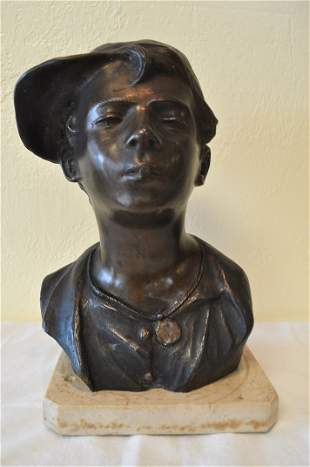 Italian Bronze bust on marble base. Signed
