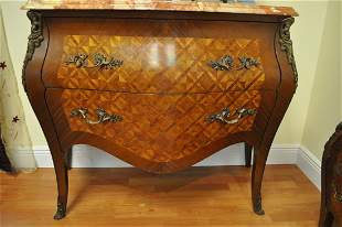 Bombe Louis XV Style Chest of Drawers and 2 Nightstands