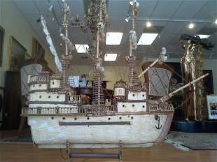 Rare Matchstick Folk Prison Art Sailboat