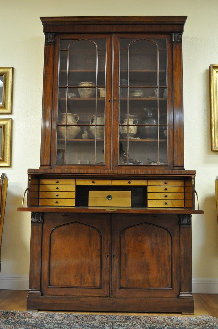 Georgian English mahogany secretary bookcase