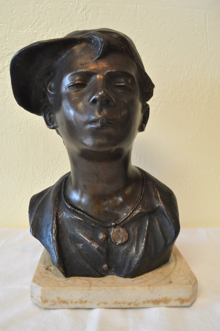 Italian Bronze bust on marble base. Signed