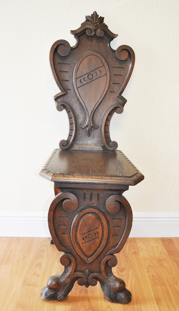 Set of 4 Antique Oak Carved Chairs