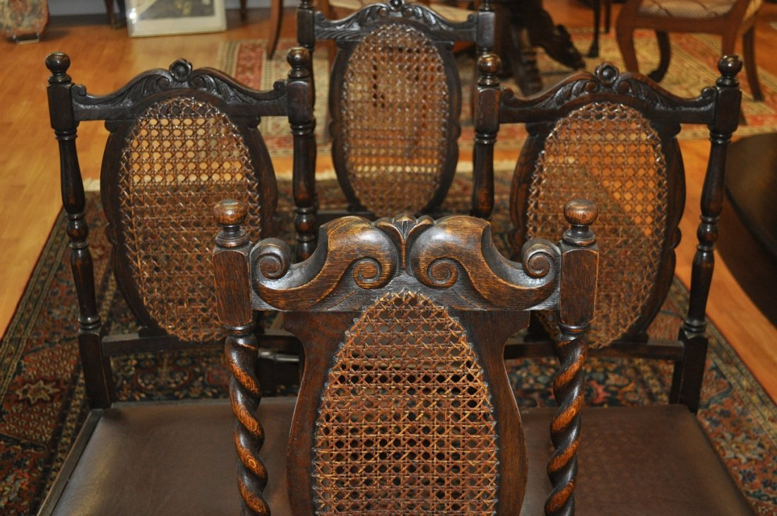 Set of 8 Antique carved oak chairs 19th century