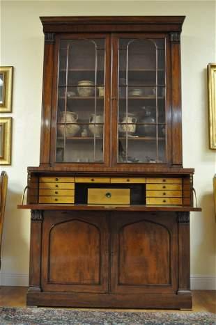 Georgian English mahogany secretary bookcase
