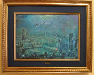 """G.Notino """"Abysses"""" Italian Oil on Canvas"""