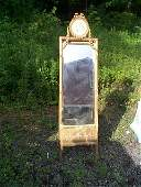 149B: French style easel mirror with flower carvings an