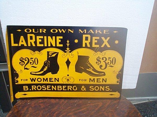 501: Tin sign LaReine Rex B. Rosenberg & Sons shoe adve
