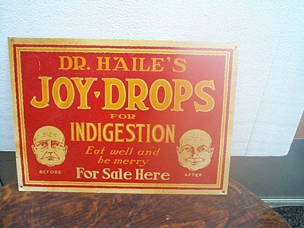 502: Porcelain sign Dr. Haile's Joy Drops for intergest