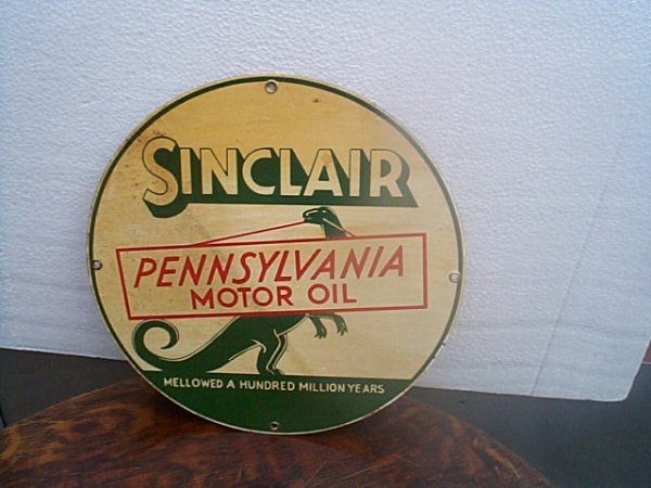 503: Porcelain SinClaire, PA Motor Oil sign.  Signed on