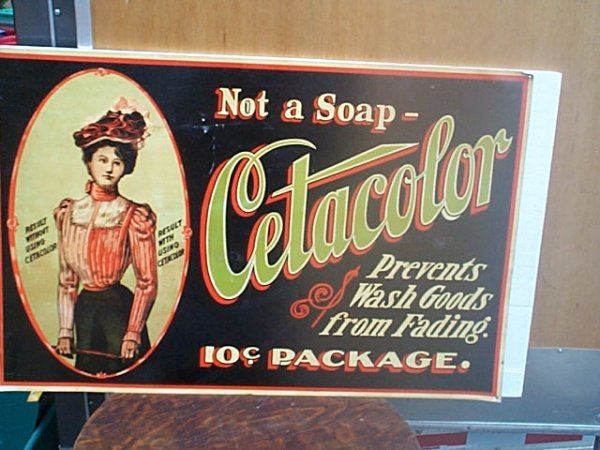 510: Tin advertising sign Cetacolor.  Has several holes