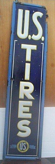 519: Antique porcelain sign U.S. Rubber Company.  Has s
