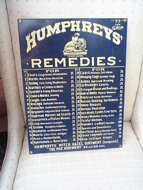 776: Porcelain tin sign Humphrey's Remedies, Humphrey's
