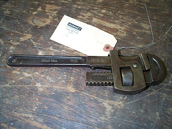14: Worth Hardware Co. pipe wrench No. 10A, made in New