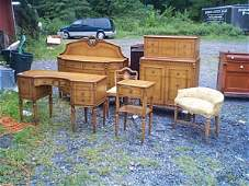 149: Banded pecan wood bedroom set.  Includes, tall che