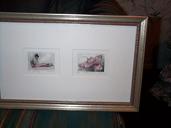 "1: Framed and matted wood block entitled, ""Resting,"" an"