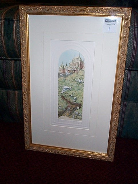 8: Signed etching depicting a castle on a hill with tre