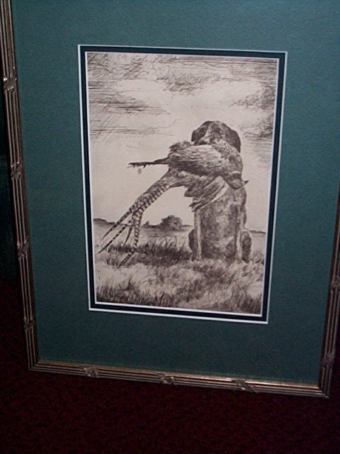 14: Framed print (possibly pen and ink) depicting a hun
