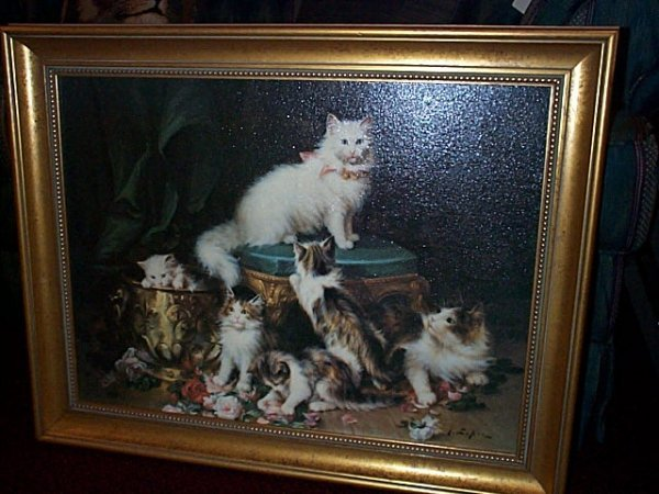 17: Contemporary oil on canvas depicting a mother cat s