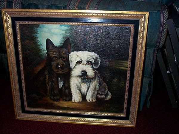 18: Contemporary oil on board depicting two Terrier dos