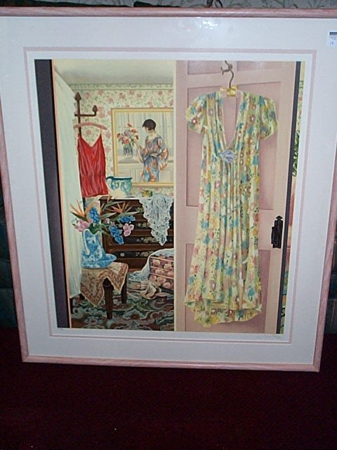 19: Framed print depicting a 1920s woman's bedroom.  Si