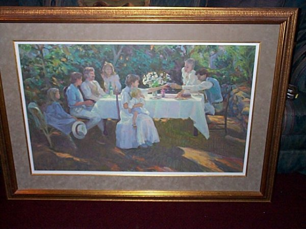 22: Framed print depicting an Impressionist painting of